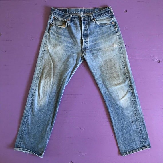 90s Levis 501 34x30 - Distressed - Made in USA Le… - image 2