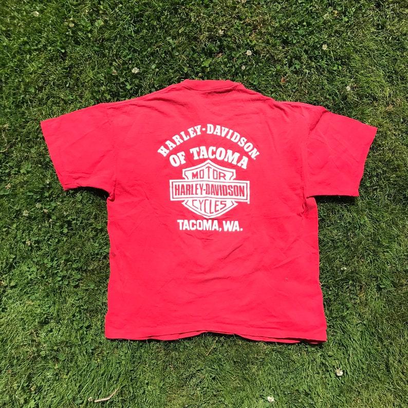 Vintage Clothing Large Sustainable Red 1982 Harley Davidson Pocket Tee Tacoma Washington - 80s Clothing Vintage Tees