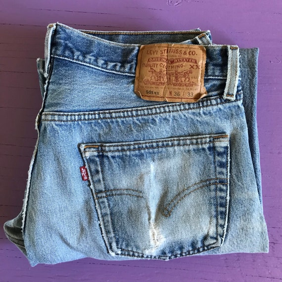 90s Levis 501 34x30 - Distressed - Made in USA Le… - image 9