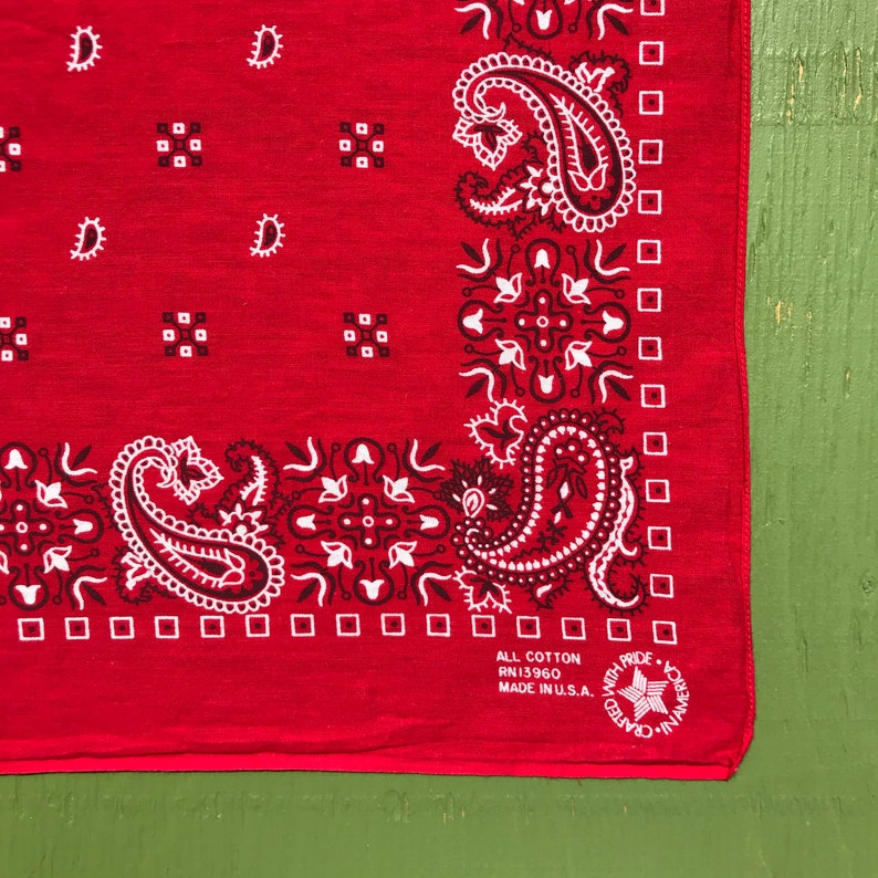 Bandana Colored Hanky Made in USA Vintage Clothing Vintage Red Paisley Handkerchief Sustainable Free Shipping All Cotton