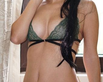 8b6ee5a92baf2 AMANDA Green Bralette  Strappy lingerie  Fully Adjustable
