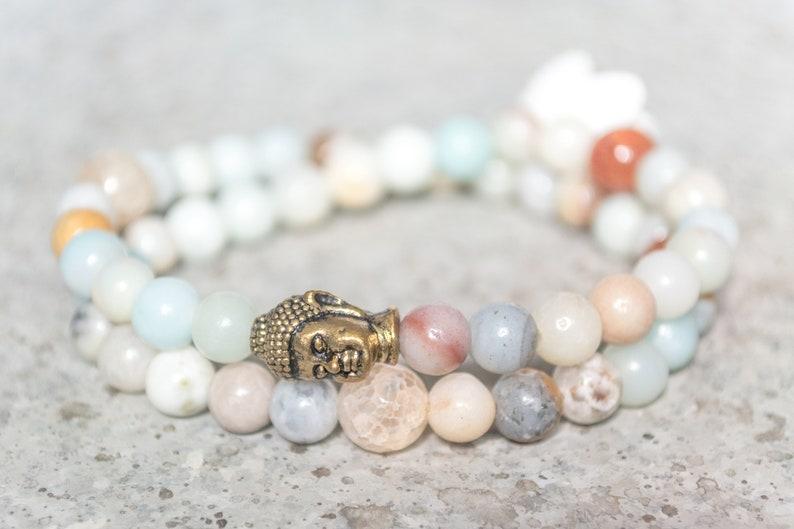 Amazonite Bead Wrap Bracelet Buddha Charm Bracelet Anxiety Relief Birthstone Bracelet gifts for her Boho Bead Jewelry Stretch Bracelet her