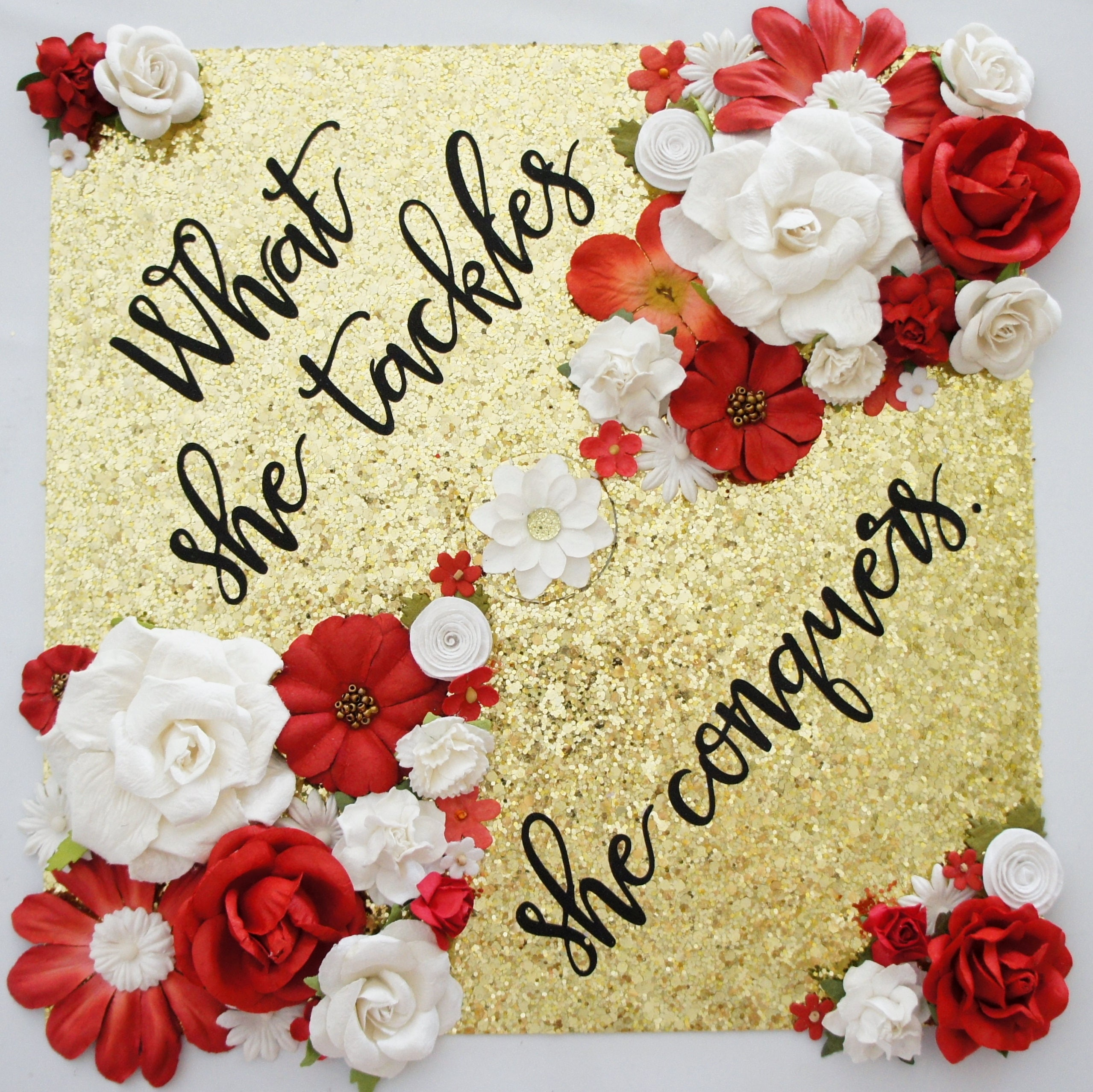 Graduation Cap Topper Decoration What She Tackles She ...