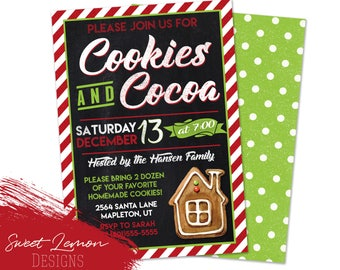 Cookie Exchange Party Invitation Christmas Holiday Baking Cooking Gingerbread
