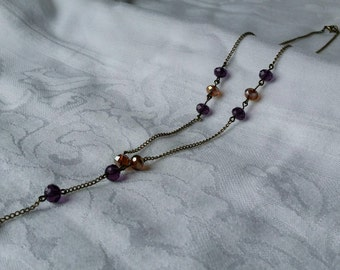 Purple and Tan Bronze Necklace with Faceted Glass Beads, Goth Crystal Chain Necklace, Bronze Chain Necklace, Free Shipping in US