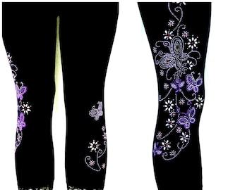 Plus Size Capri Length Leggings Embellished Rhinestone Purple Butterfly Floral Design