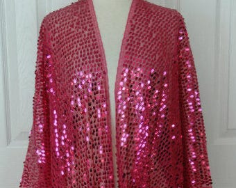 b9f739339c156 Hot Pink Dress Up Your Outfit Lightweight Sequin Long Sleeve Tassel Bottom  Wrap Duster Jacket