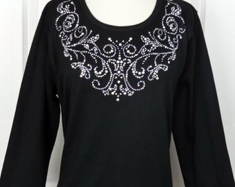 efff91656b Hand Embellished Victorian Style Silver or Pewter Swirl Neckline Ladder 3/4  Sleeve Tunic Knit Top Available Sizes Small Up To Size 3X