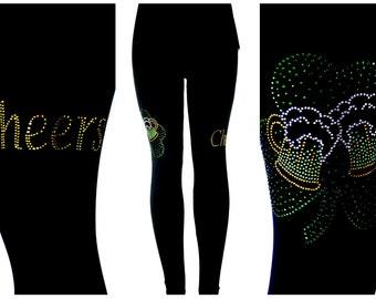 9364dfd5b9162 Regular Size Full Length Leggings Embellished Rhinestone Cheers Beers Irish  St. Patrick's Day Shamrock Clover