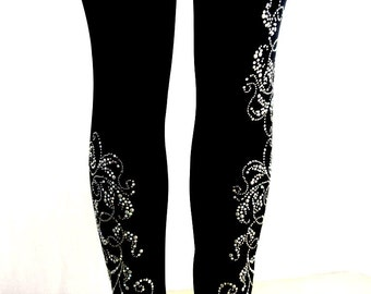31a6b10abd585 Regular Size Full Length Leggings Embellished Rhinestone Silver Pearl Swirl  Design