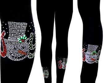 072914e9013f7f Plus Size Full Length Leggings All Rhinestone Embellished Christmas Joy  Snowman Design