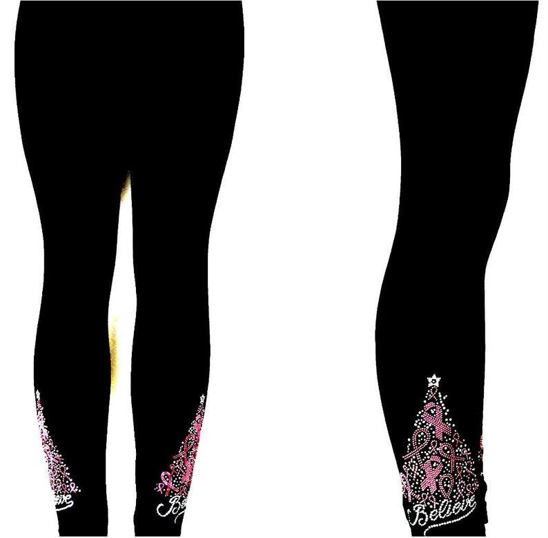 Regular Size Full Length Leggings Rhinestone /& Shiny Stud Embellished Pink Believe Cancer Ribbon Winter Tree Design