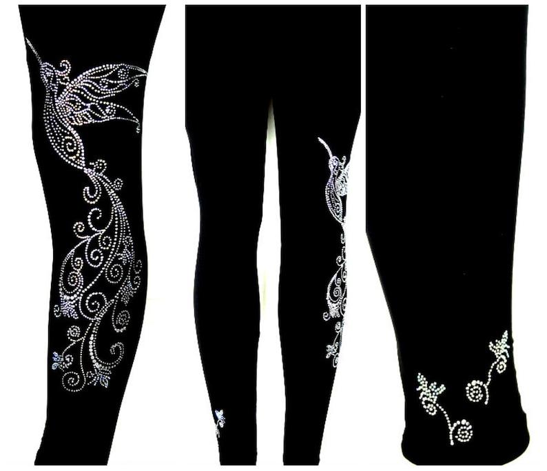 Plus Size Full Length Leggings Embellished Rhinestone Crystal /& AB Aurora Borealis Stones Fancy Hummingbird Tail Swirl Design