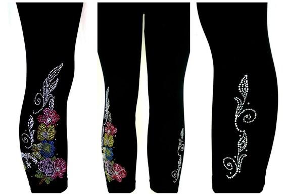 Capri Length Leggings Embellished Rhinestone Shimmering Dragonflies Design