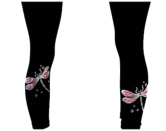 Plus Size Capri Length Leggings Embellished All Rhinestone Shimmering Dragonflies Design