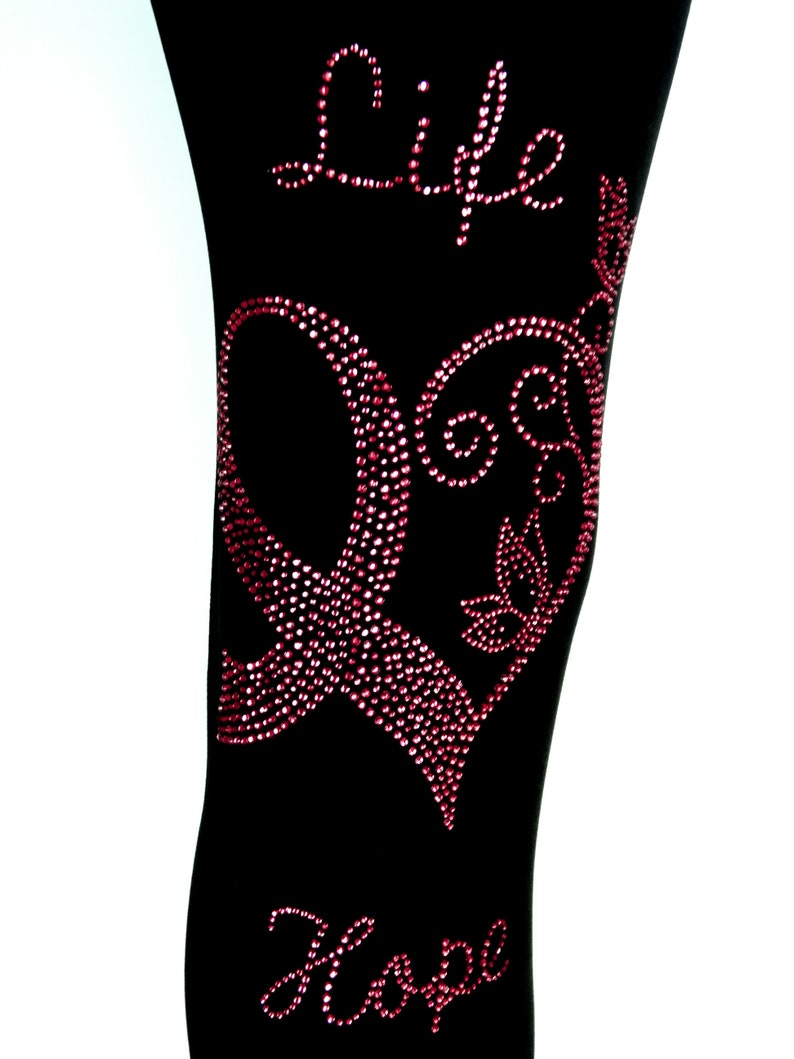 Plus Size Full Length Leggings Embellished All Pink Rhinestone Breast Cancer Awareness Life Love Hope Design