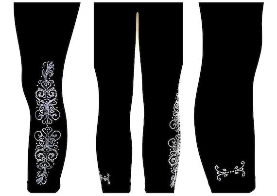 REGULAR SIZE Capri Length Leggings Embellished Rhinestone Vintage Swirls Design