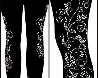 Plus Size Capri Length Leggings Embellished Silver Pearl Swirl Design