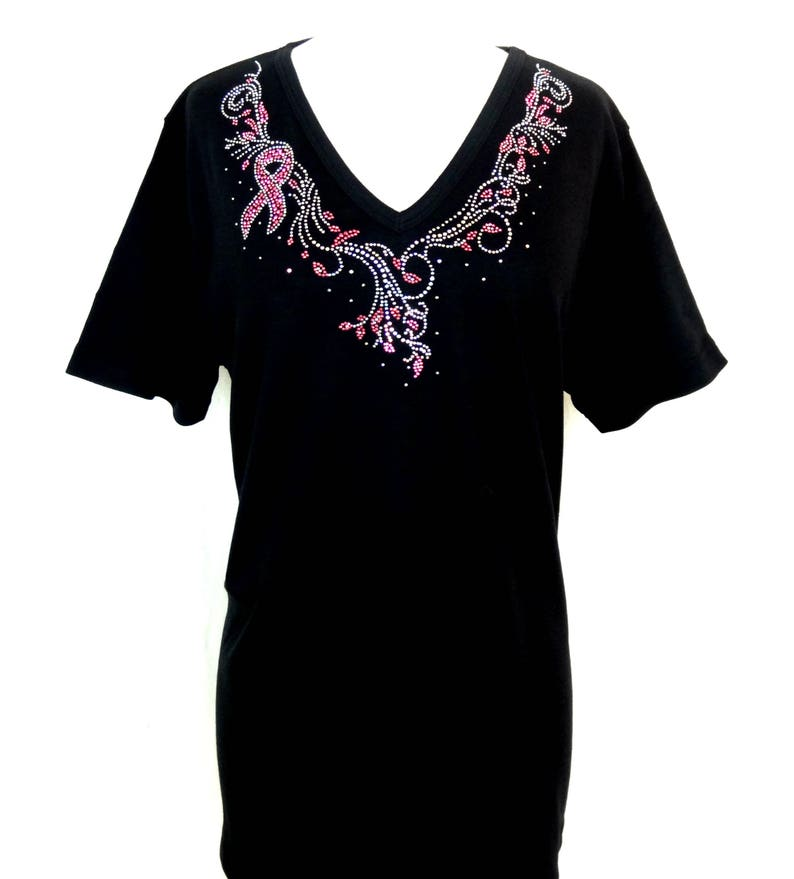 Embellished Rhinestone /& Stud Breast Cancel Ribbons Jeweled Neckline Short Sleeve Knit Top Available Sizes Small Up To Size 3X