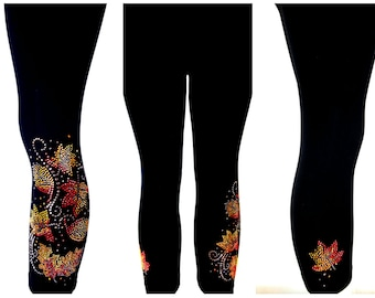 Regular Size Capri Length Leggings Embellished Rhinestone & Stud Autumn Leaves Design