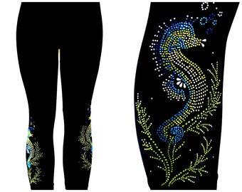 Regular Size Capri Length Leggings Embellished All Rhinestone Shimmering Seahorses Design