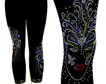 Plus Size Capri Length Leggings Embellished Rhinestone Mardi Gras Mask Design
