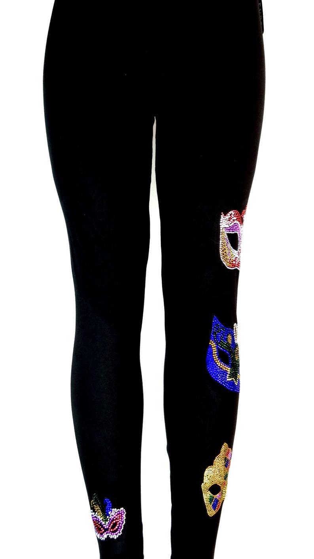Regular Size Full Length Leggings Embellished All Rhinestone Mardi Gras Masks Design