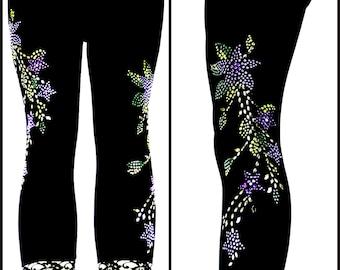 Plus Size Capri Length Leggings Embellished Rhinestone Purple Star Flower Design