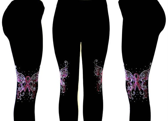 PLUS SIZE CAPRI LENGTH LEGGINGS EMBELLISHED RHINESTONE CRYSTAL BUTTERFLY FLORAL
