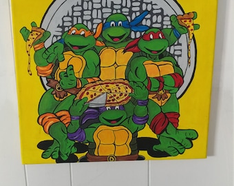 TMNT Acrylic Painting on stretched canvas. 16x20