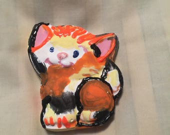 Hand painted cat magnet
