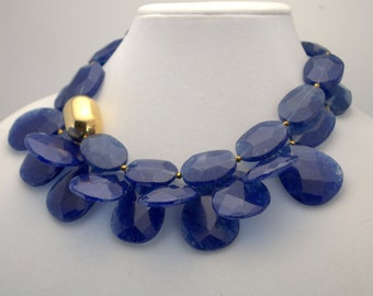 Chunky Blue Quartz Multistrand Gemstone Statement Necklace by Modaire