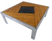 Mid Century Modern Milo Baughman Split Bamboo and Chrome Square Coffee Table