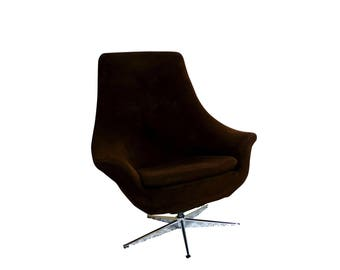 Mid Century Modern 1960's Brown Swivel Egg Chair Chrome Base possibly Overman??