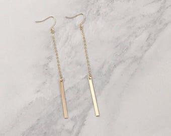 Dainty, Dangle, Drop Bar Gold Earrings