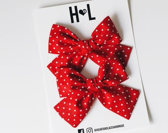 Two Set Red Heart Bows pigtail bows Vintage Heart set bow Valentine pigtail set hair bow Heart Piggie Bows Valentine pigtail hair bow