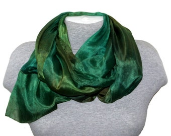 b01454ec3b4bf Green Emerald Silk Scarf Hand Dyed Silk Scarves for Women Mother's Day  Gifts Green Bridesmaid Outfits Emerald Bridal Wear outdoors gift