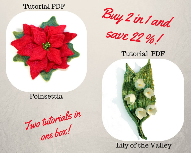 2 in 1 PDF Tutorial Felted Flower Wet Felting Pattern English Lily of the  Valley brooch Poinsettia projects DIY step by step Learn to Felt