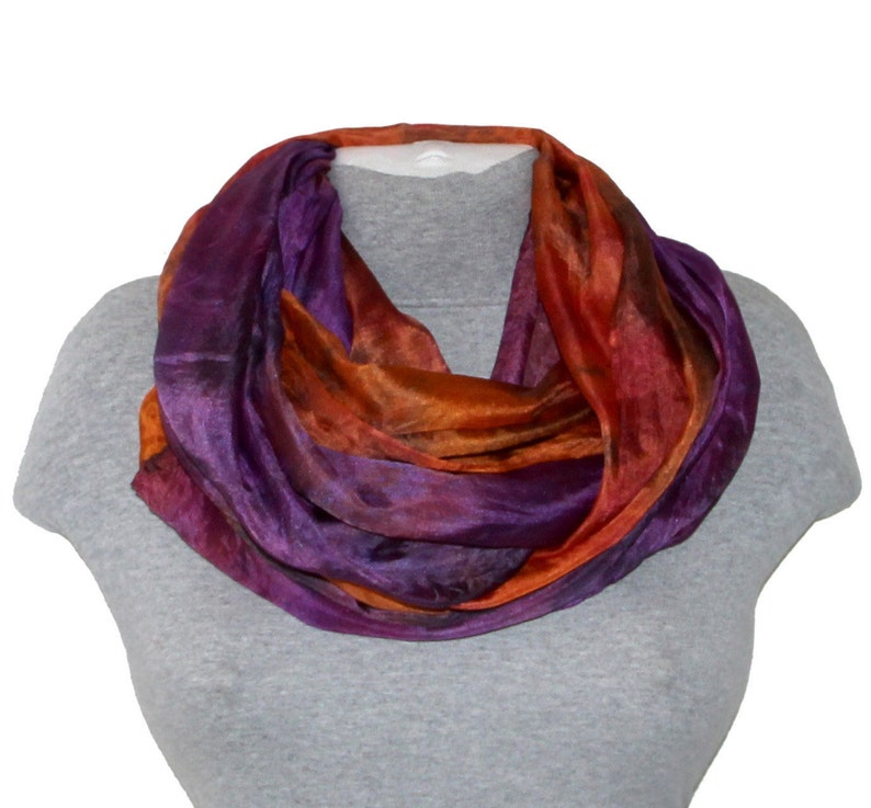 4e84645dc171 Burnt Orange Silk Scarves for Women Нand dyed silk scarf