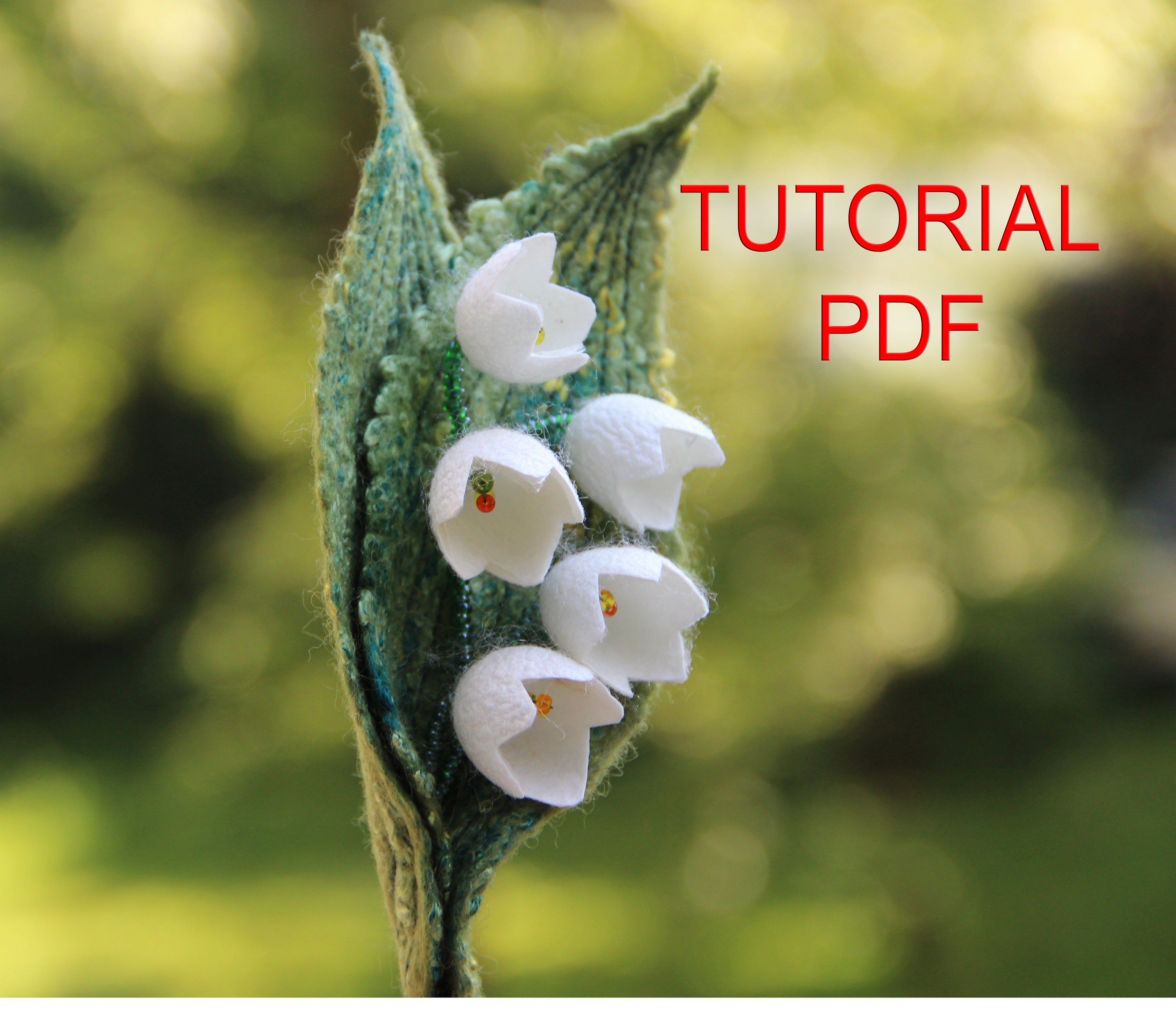 Tutorial Pdf Felt Brooch Lily Of The Valley Felted Flower Etsy