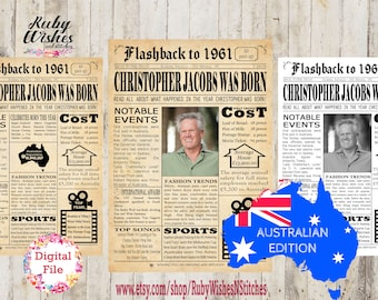 Canadian Personalised 60th Birthday 1961 Newspaper Major Events Back in the Day Printable
