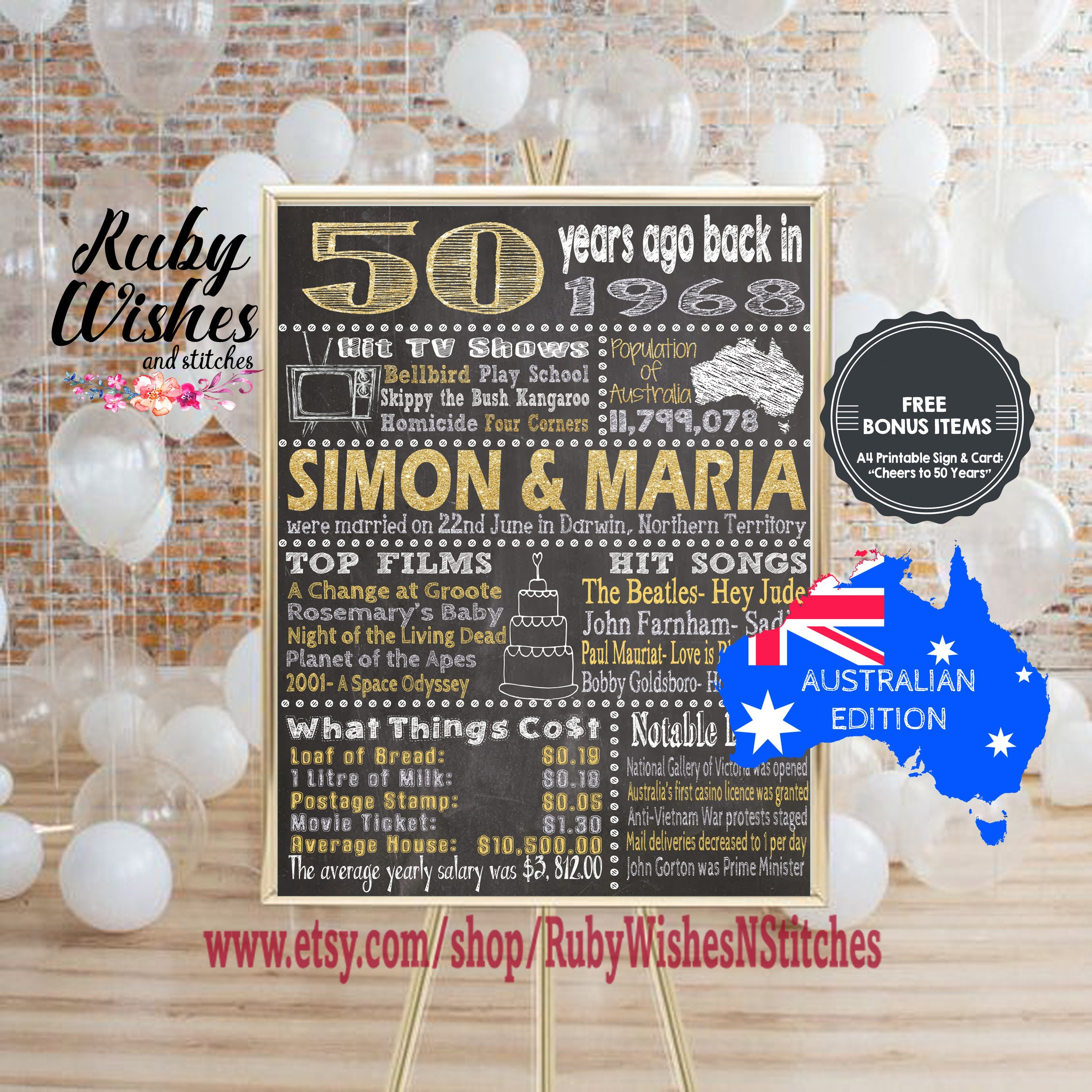 Australian Wedding Anniversary Gifts By Year: Personalised 50th Wedding Anniversary 1968 Chalkboard