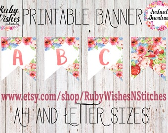 Floral Watercolour Bunting Printable All Letters Watercolor Alphabet A4  and Letter (8.5x11) Banner Flags