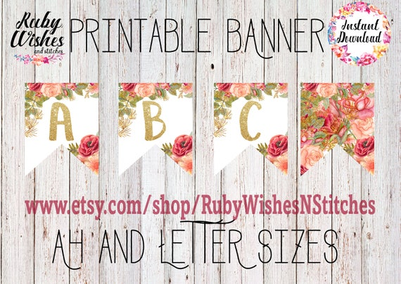 Floral Fabric Bunting with Alphabet Letters