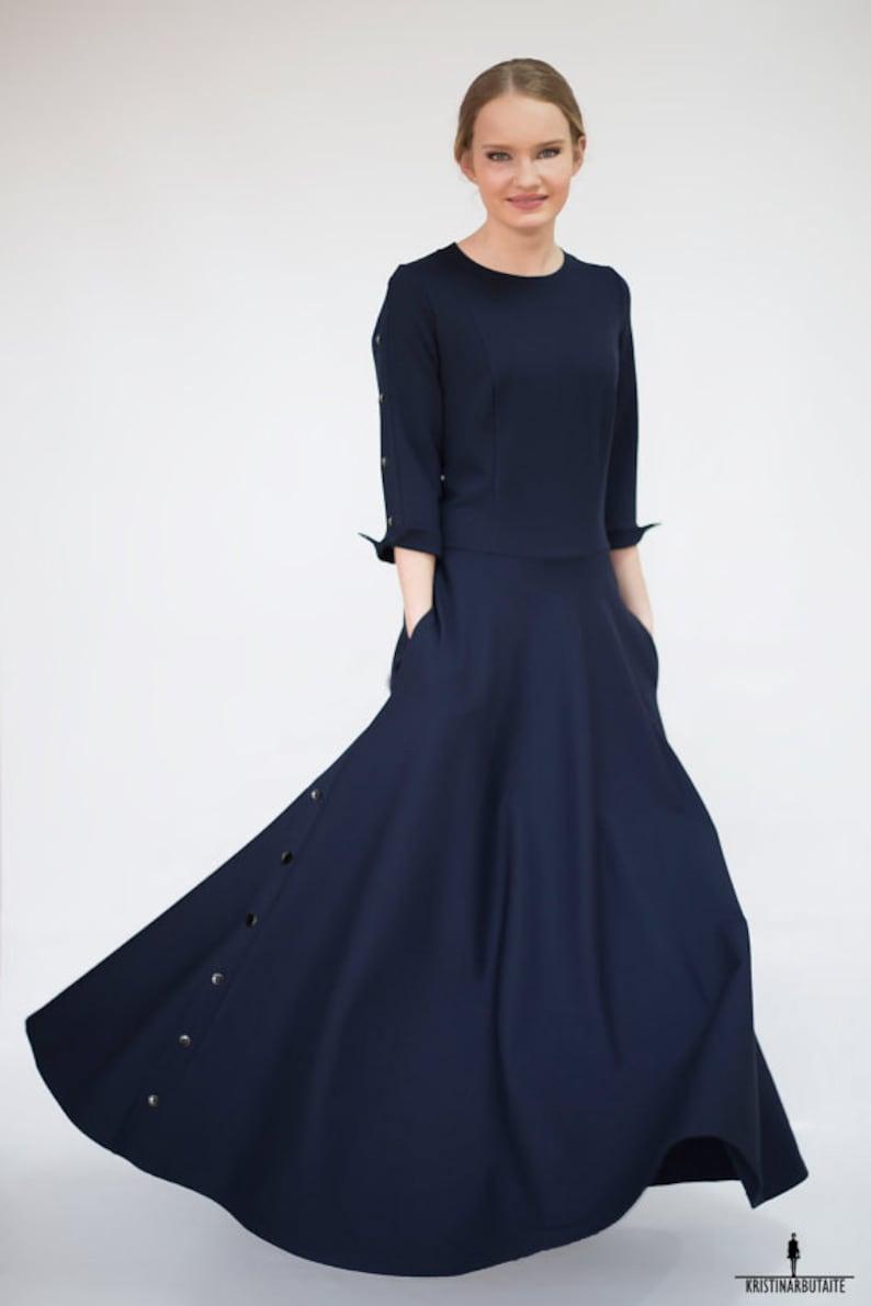 f1e77858f74 Robe longue bleu Robe maxi longue élégant robe de soirée