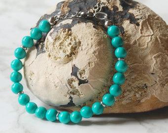 Natural Turquoise bracelet on stainless steel - December birthstone