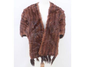 VINTAGE - Luxurious - Genuine - Dark - Brown - FUR - Detachable - Tails - Wrap - Stole - Cape - Coat - AUS 10 12 14 - S M L