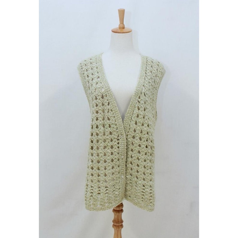 Vintage Waistcoat AUS 12 Green Knit BOHO Blend Vest WOOL Jacket Pale Open Hole Hippie Retro Medium Avocado M