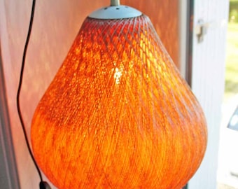 Vintage 1960's 1970's Scandinavian style pendant lamp cotton string Orange brown / vintage wood pendant lamp