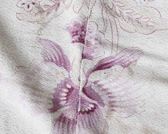 Antique french Silk?cotton fabric pattern Orchid beginning of 20th century